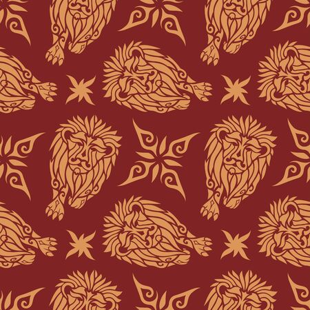 Beautiful royal seamless pattern with golden lions silhouettes on the purple background