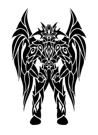 Beautiful black tattoo illustration with cartoon winged demon on white background