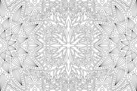 Beautiful monochrome linear abstract background for coloring book