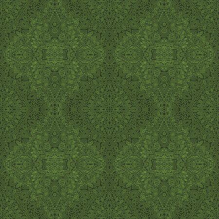 Beautiful green illustration with abstract linear seamless pattern Çizim