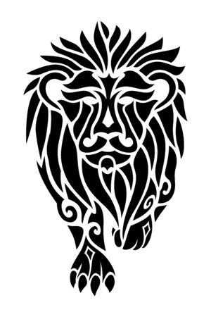 Beautiful black tribal tattoo illustration with lion silhouette on white background Illustration
