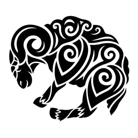 Beautiful black tribal illustration with stylized ram silhouette on white background
