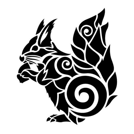 Beautiful black tattoo illustration with squirrel silhouette and acorn on white background