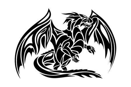 Bella illustrazione monocromatica del tatuaggio fantasy con silhouette stilizzata di drago nero su sfondo bianco