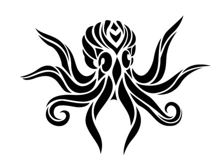 Beautiful monochrome tribal tattoo illustration with stylized black octopus silhouette on white background Vector Illustratie