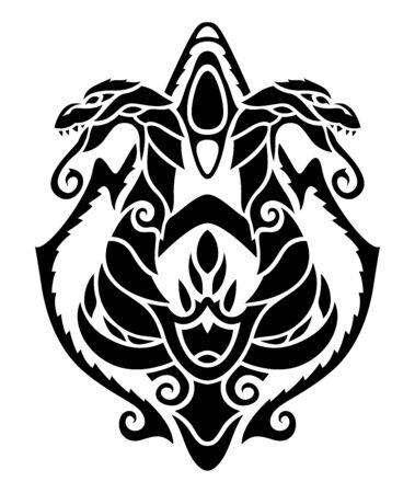 Beautiful monochrome tribal heraldic tattoo illustration with black two headed dragon on white background