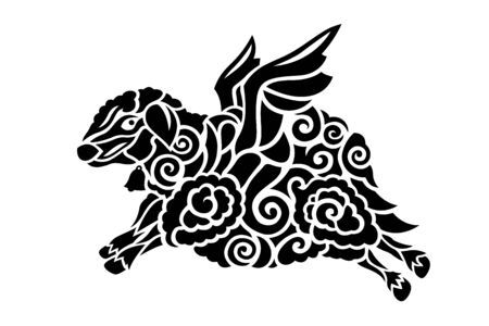 Beautiful monochrome tribal tattoo illustration with stylized flying sheep silhouette on white background Reklamní fotografie - 130775188