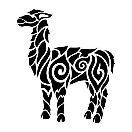 Beautiful monochrome tribal tattoo illustration with stylized lama silhouette on white background