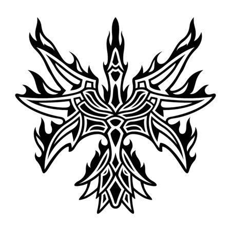 Beautiful monochrome tribal tattoo illustration with stylized flaming phoenix silhouette on white background