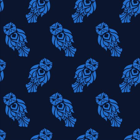 Beautiful blue seamless pattern with owl silhouettes on dark background