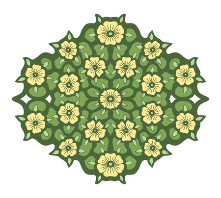 Isolated beautiful floral pattern with yellow flowers on the green background with leaves
