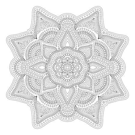 Beautiful linear monochrome illustration for adult coloring book page on white background