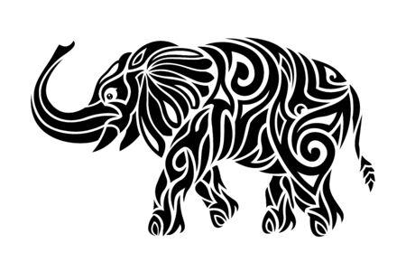 Beautiful monochrome tribal tattoo illustration with stylized elephant silhouette on white background