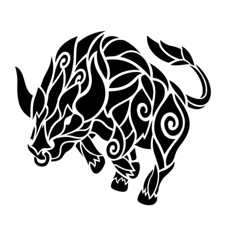 Beautiful monochrome tattoo illustration with black bull silhouette on white background