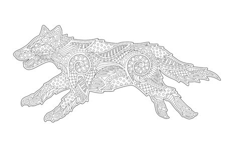 Beautiful monochrome linear illustration for coloring book with stylized wolf on white background 일러스트
