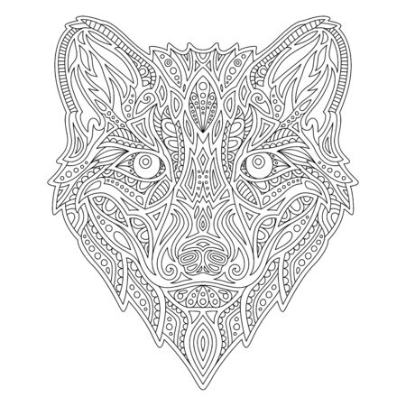 Beautiful linear illustration for adult coloring book with wolf head on white background