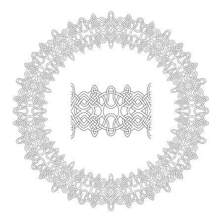 Beautiful astract circle pattern with paint brush on white background for adult coloring book page