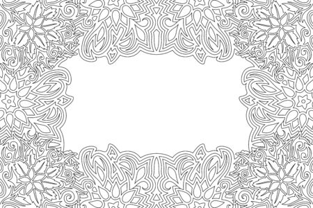 Beautiful monochrome linear border for adult coloring book with floral pattern