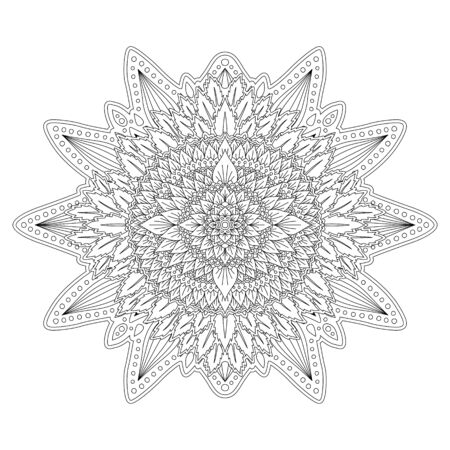 Beautiful black and white illustration for coloring book page with floral linear pattern on white background Ilustrace