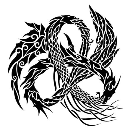 Beautiful monochrome tribal tattoo illustration with trinity dragons on white background Ilustrace
