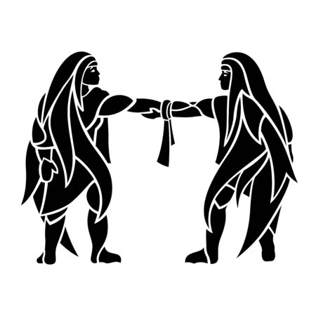 Beautiful monochrome tribal tattoo illustration with hand shaking twins silhouettes on white background
