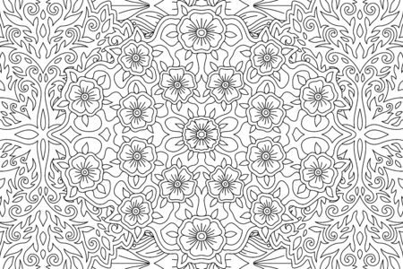 Beautiful black and white illustration for coloring book with linear floral pattern Ilustrace