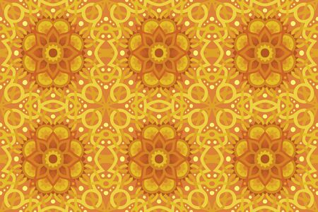 Beautiful sunny illustration with yellow abstract seamless pattern