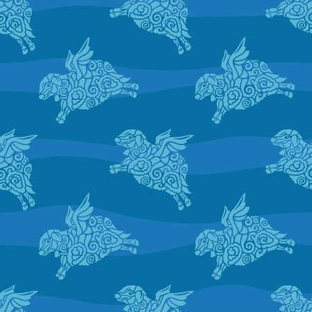 Beautiful seamless pattern with flying sheep silhouettes on the wavy blue background