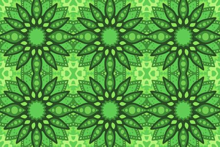 Beautiful green background with square abstract seamless pattern