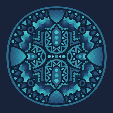 Beautiful abstract illustration with sapphire color round pattern on dark blue background
