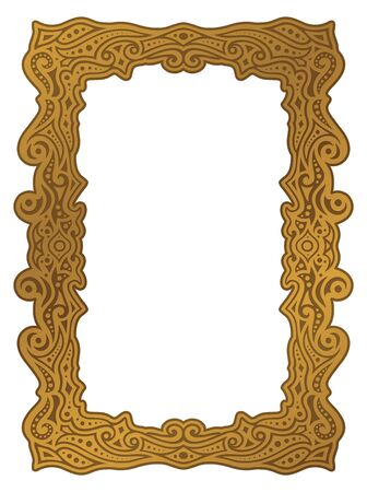 Beautiful illustration with golden frame on white background