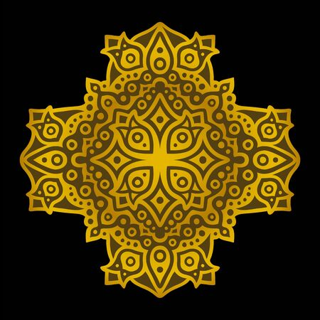 Beautiful illustration with abstract shiny golden pattern on the black background