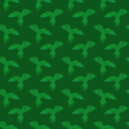 Beautiful green tropical seamless pattern with stylized parrots silhouettes