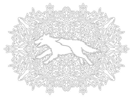 Monochrome illustration for coloring pook with running wolf silhouette on the beautiful linear vintage pattern