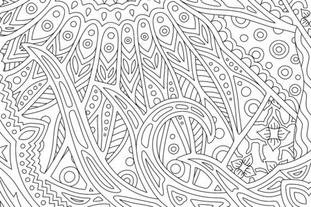Beautiful abstract monochrome illustration for adult coloring book with decorative seascape Ilustrace