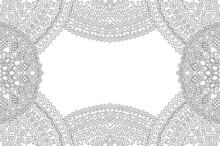 Beautiful monochrome illustration for coloring book arts with linear decorative border
