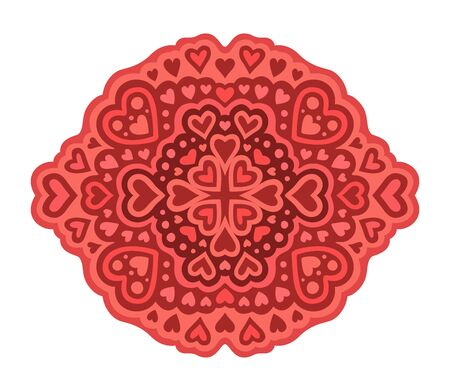 Beautiful red romantic pattern with different heart shapes on white background Ilustrace