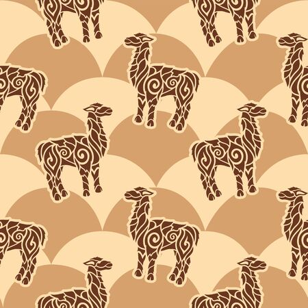 Seamless pattern with decorative lama silhouettes on the beautiful background Ilustrace