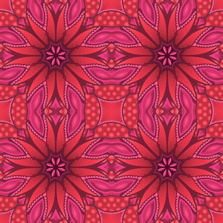 Beautiful pink bright illustration with motley abstract seamless pattern Ilustrace
