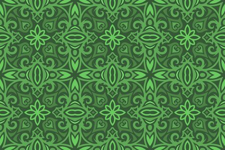 Beautiful vintage green background with medieval seamless pattern