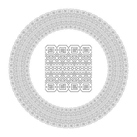 Beautiful circle ancient tribal linear pattern for coloring book page with paint brush isolated on white background
