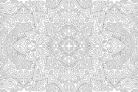 Beautiful illustration for coloring book with abstract black linear pattern on white background