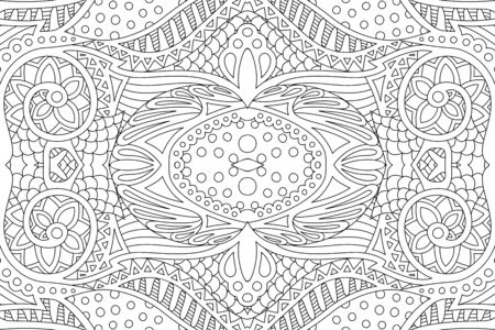 Monochrome illustration for coloring book page with beautiful abstract linear pattern Ilustrace