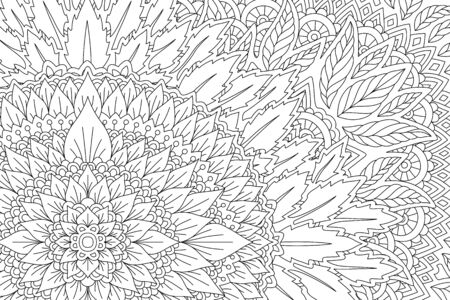Beautiful monochrome linear illustration for adult coloring book with floral pattern with leaves Ilustrace