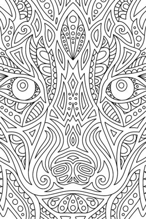 Beautiful black and white linear illustration for adut coloring book with wild wolf eyes
