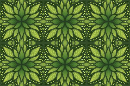 Beautiful vector colorful green background with floral seamless pattern