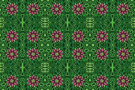 Seamless floral pattern with pink flowers on beautiful green abstract background