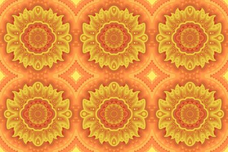 Beautiful colorful illustration with yellow sunny seamless pattern Ilustrace