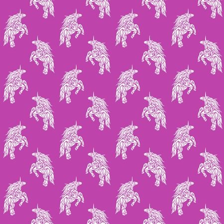 Beautiful seamless fantasy pattern with stylized white prancing unicorn silhouette on pink background