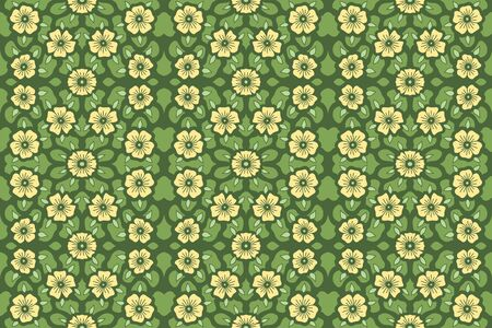 Floral seamless pattern with yellow flowers on beautiful green background